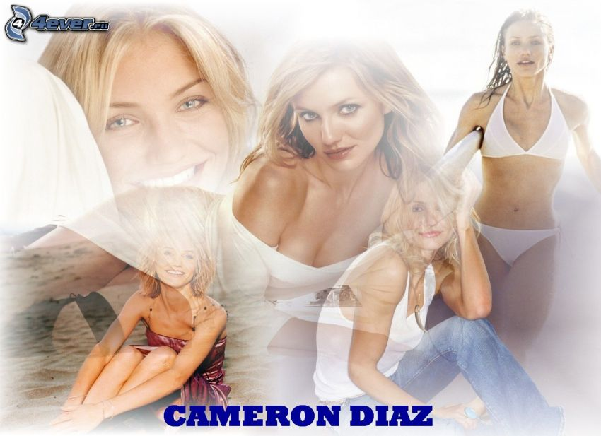 Cameron Diaz, Schauspielerin, Blondine, Jeans, weiße Unterwäsche, T-shirt