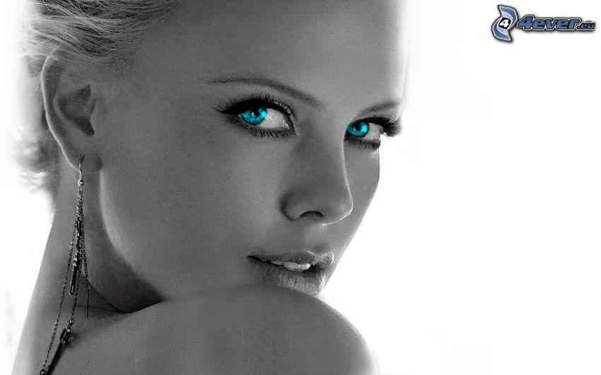 Charlize Theron, blaue Augen