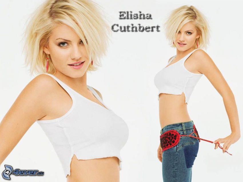 Elisha Cuthbert, Blondine, weißes T-Shirt, Jeans