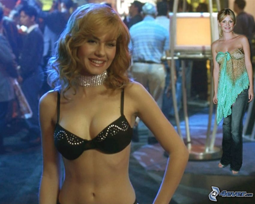 Elisha Cuthbert, schwarz-BH, Blondine, The Girl Next Door, Cat Tale, My Sassy Girl