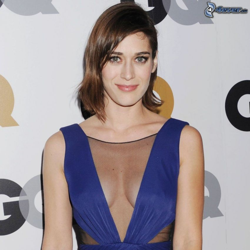 Lizzy Caplan, blaues Kleid