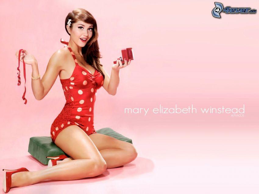 Mary Elizabeth Winstead, gepunkteten Kleid