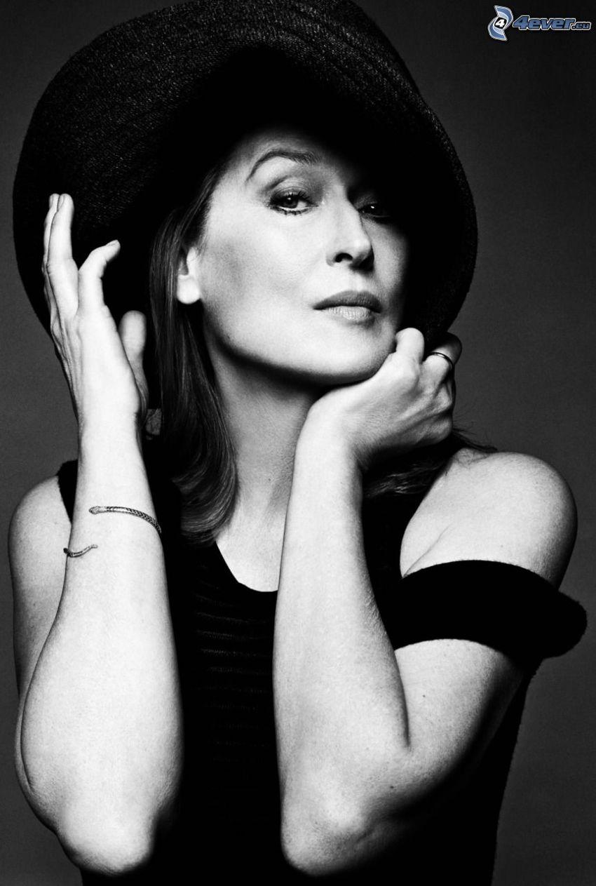 Meryl Streep, Schwarzweiß Foto, Hut