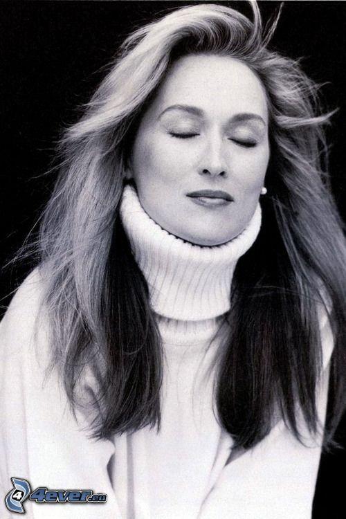 Meryl Streep, Schwarzweiß Foto, Träumen