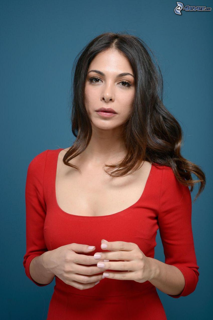 Moran Atias, rotes Kleid