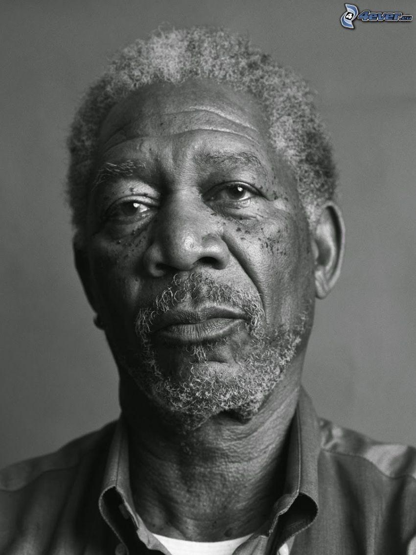 Morgan Freeman, Schwarzweiß Foto