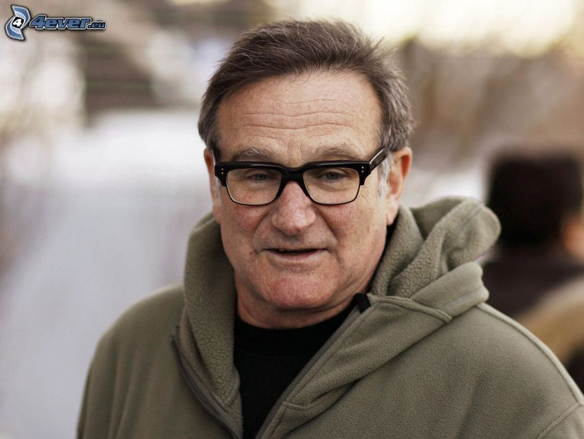 Robin Williams, Mann mit Brille, Sweatshirt