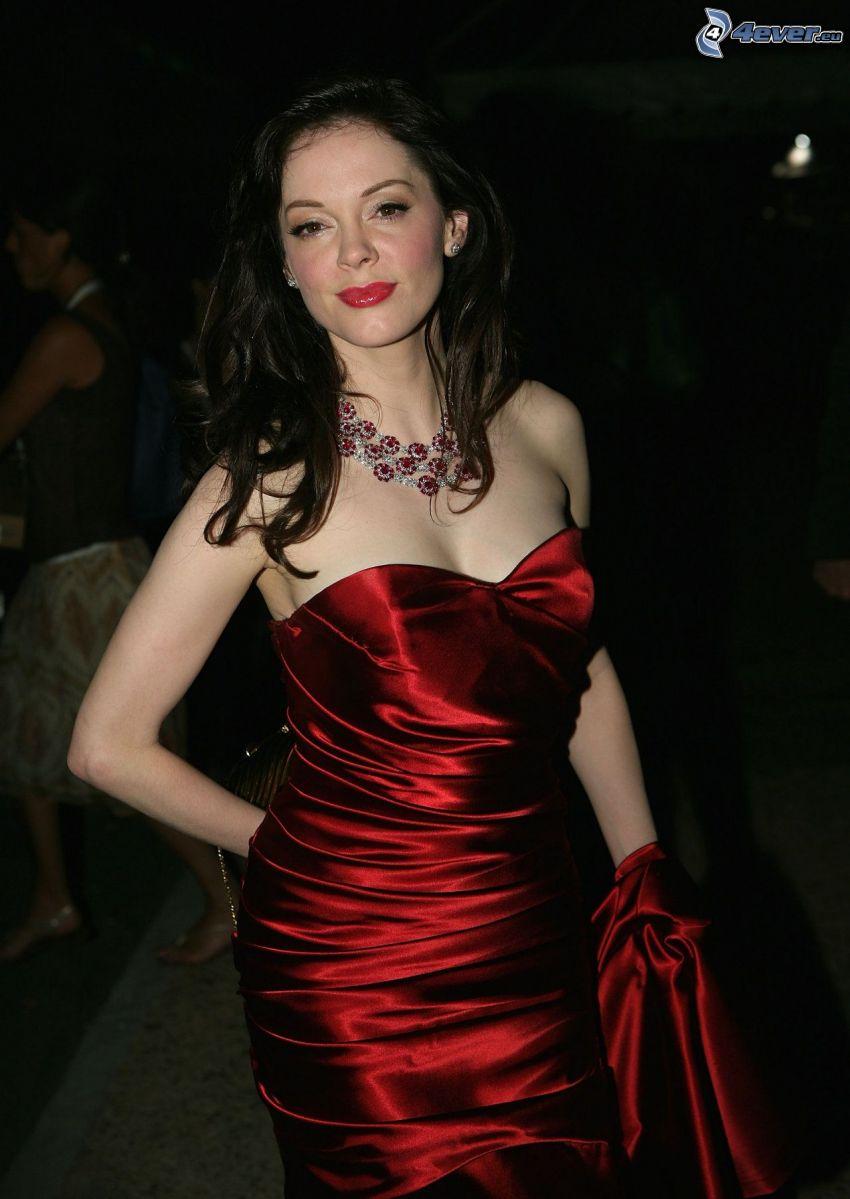 Rose McGowan, rotes Kleid
