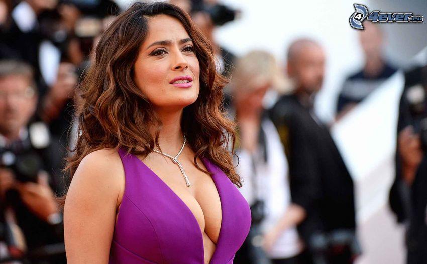 Salma Hayek, lila Kleid