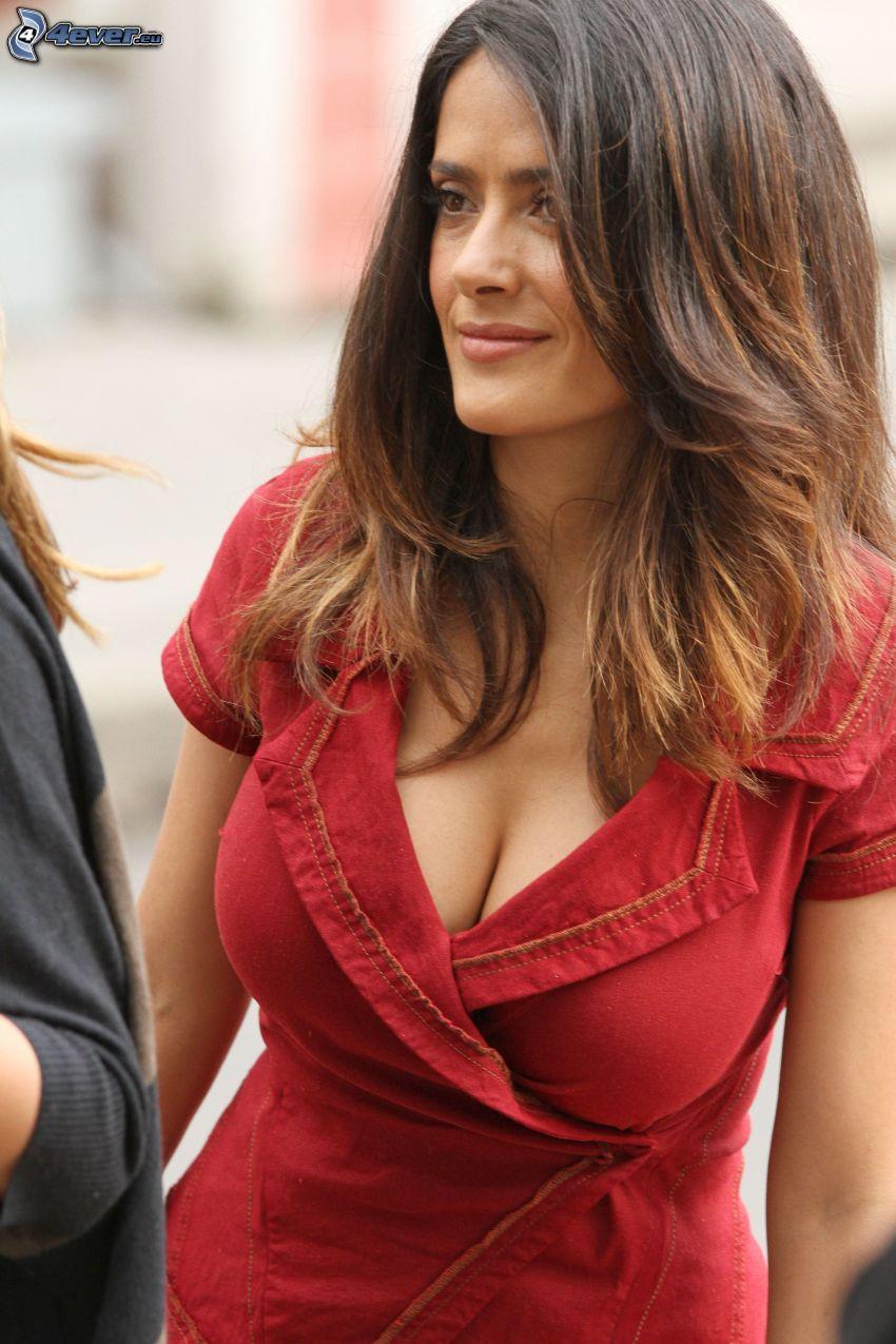 Salma Hayek, rotes Kleid
