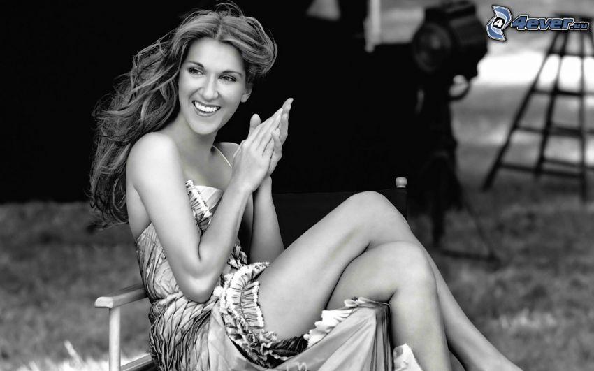 Celine Dion, Lächeln, Schwarzweiß Foto