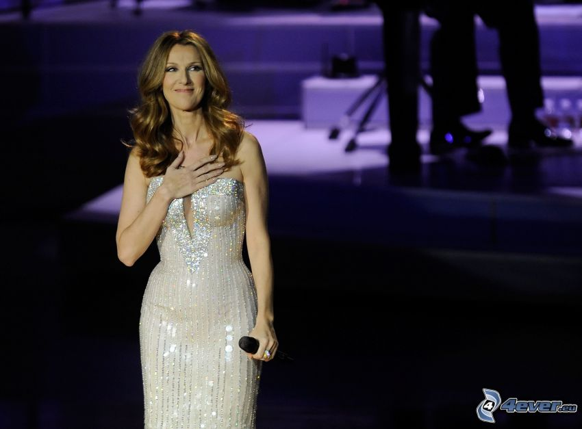 Celine Dion, weißes Kleid