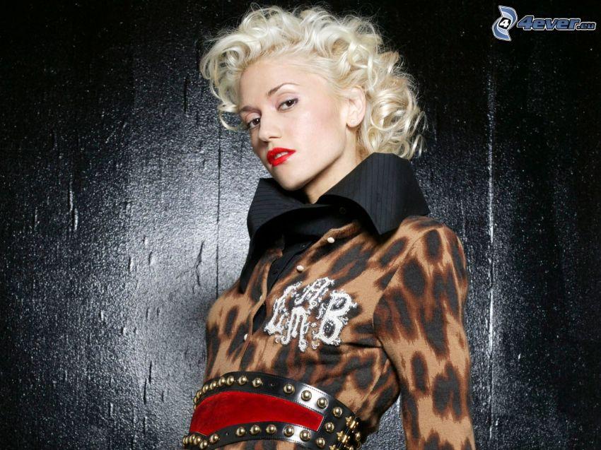 Gwen Stefani, rote Lippen, lockig Blond