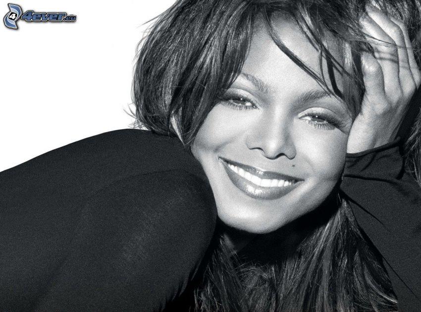 Janet Jackson, Schwarzweiß Foto