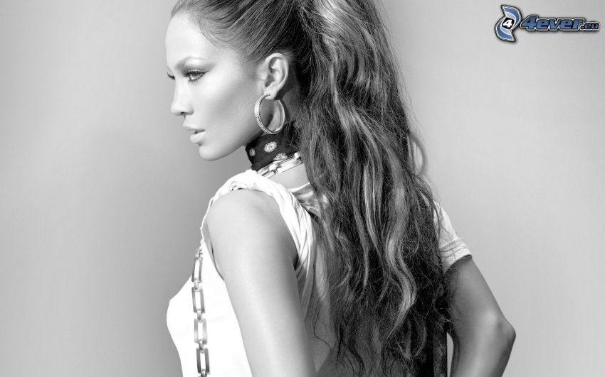 Jennifer Lopez, Schwarzweiß Foto