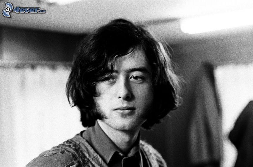 Jimmy Page, Gitarrist, wenn junge, Schwarzweiß Foto