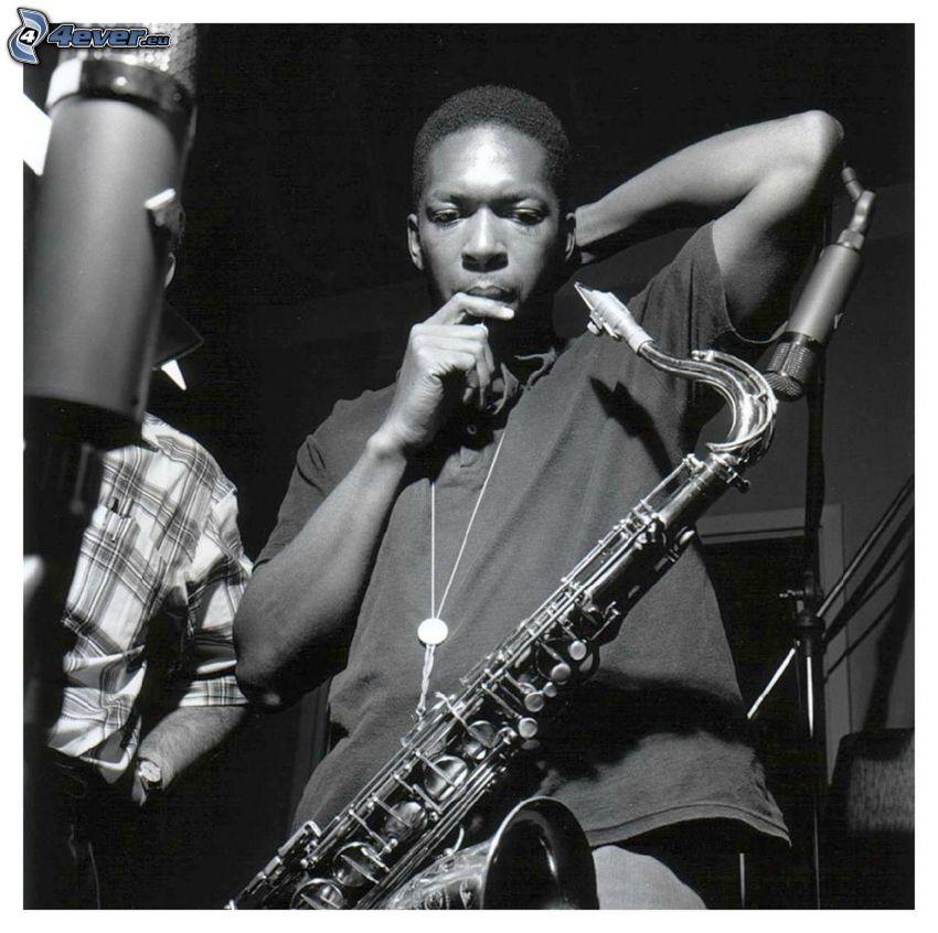 John Coltrane, Saxophonist, Schwarzweiß Foto
