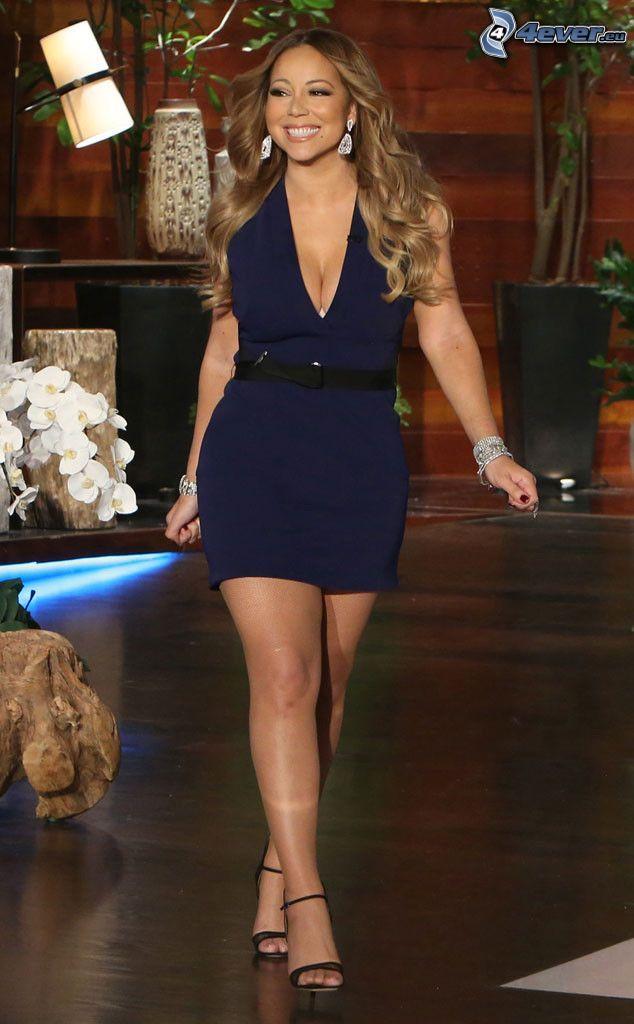 Mariah Carrey, blaues Kleid