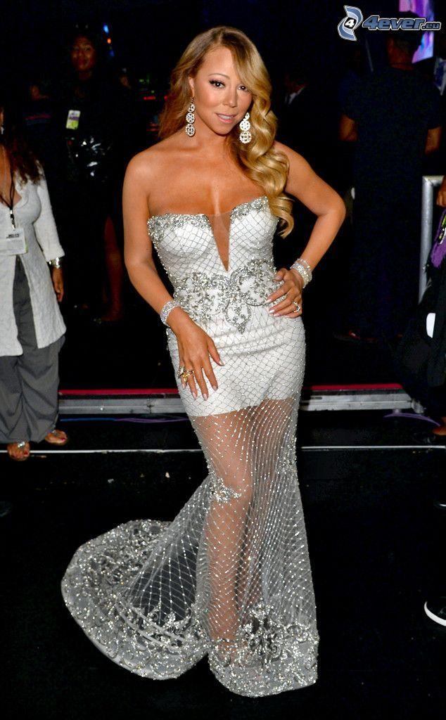 Mariah Carrey, weißes Kleid