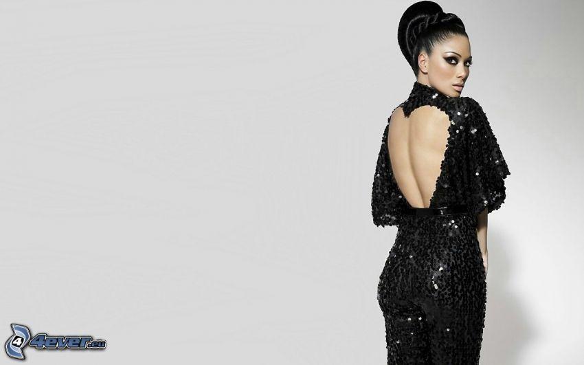 Nicole Scherzinger, schwarzes Kleid, Pailletten-Kleid
