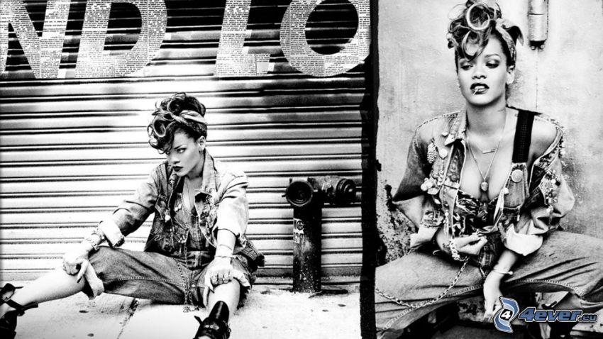 Rihanna, Schwarzweiß Foto