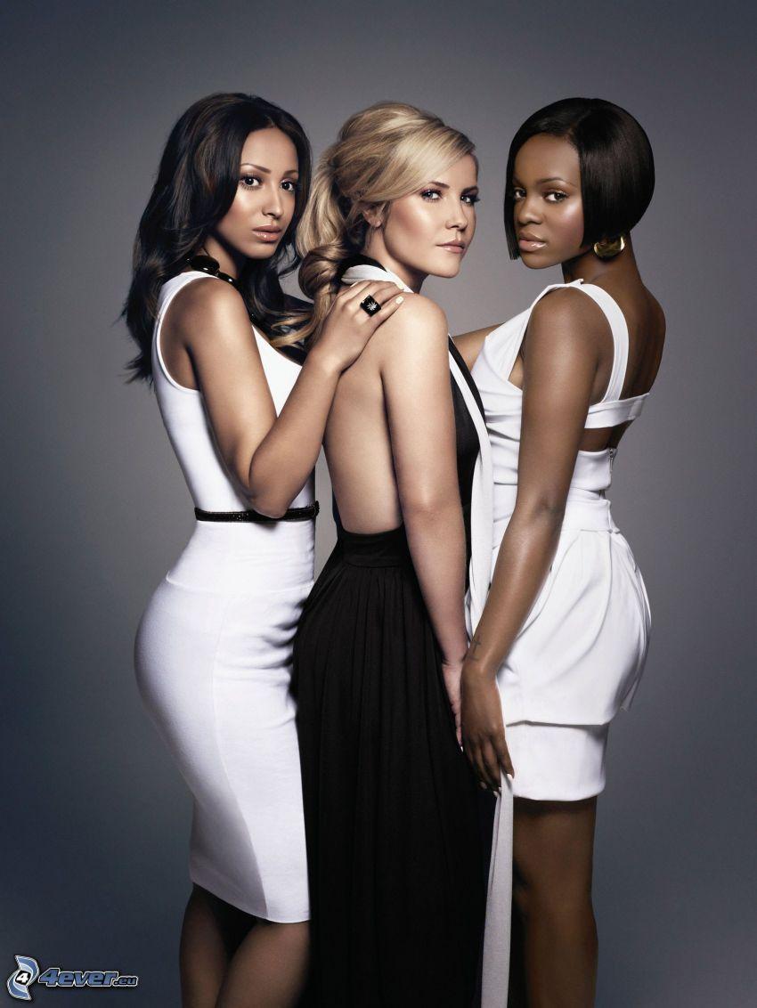 Sugababes, schwarzes Kleid, weißes Kleid