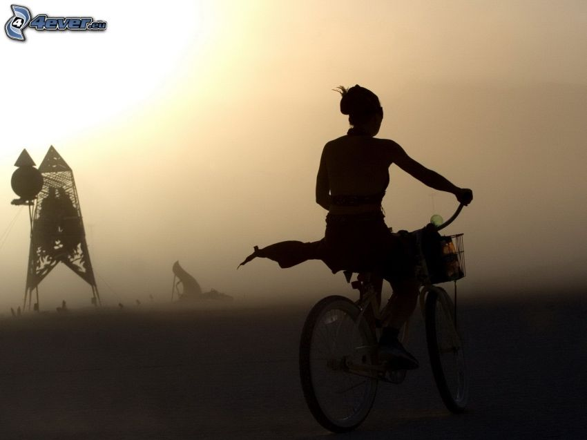 Radfahrer, Silhouette, Nebel