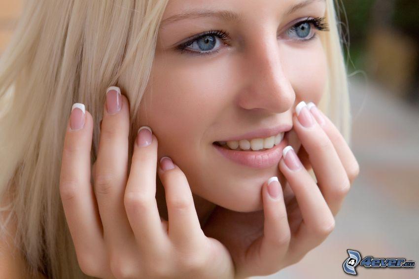 schöne Frau Gesicht, Blondine, blaue Augen