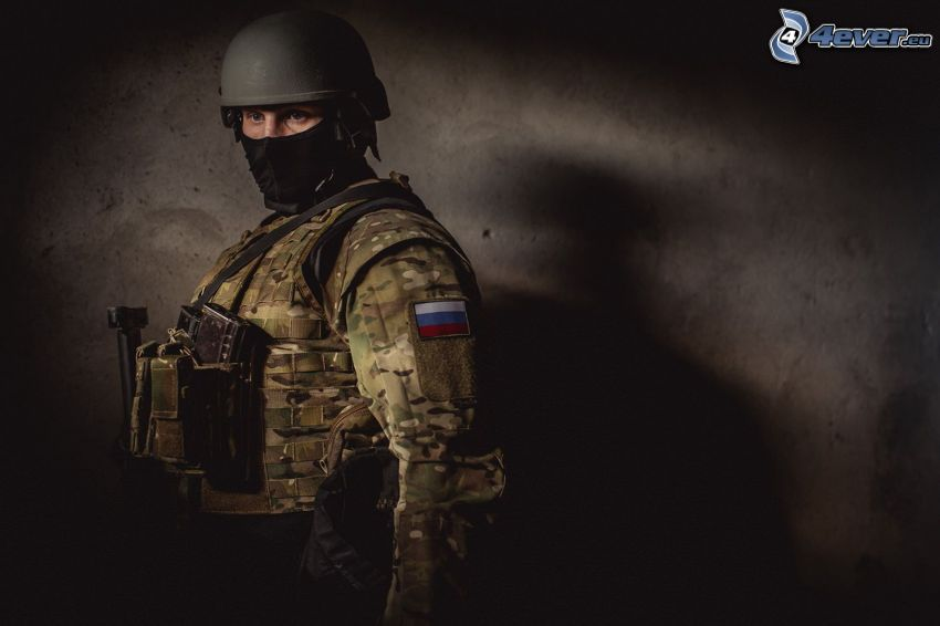 Soldat, russische Flagge