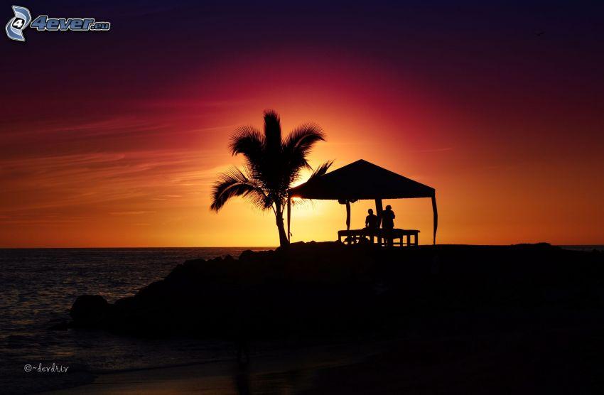 Sonnenuntergang über dem Meer, Pavillon, Paar, Palme, Silhouetten