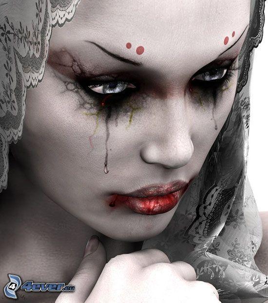 Trauer, blutige Tränen