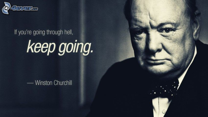 Winston Churchill, Zitat, Schwarzweiß Foto