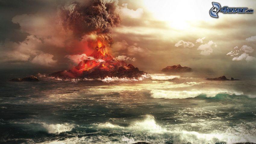 Ausbruch, stürmisches Meer