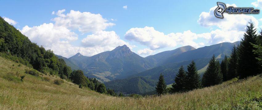 Berge, Himmel, Wolken, Hügel, Tal