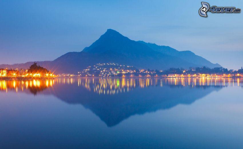 Berg, See, Spiegelung, Abend, Beleuchtung