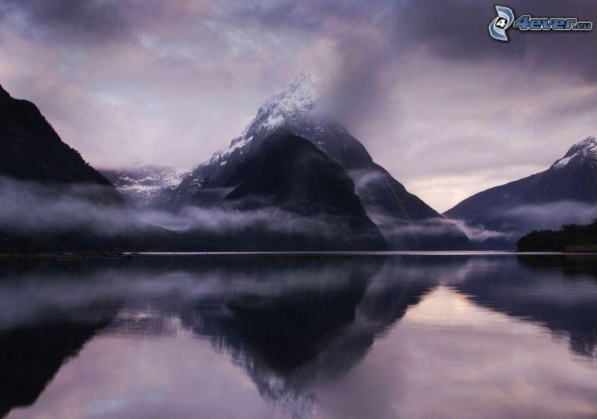 Berge, Wolken, See, Spiegelung