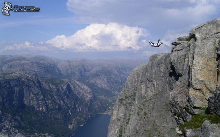 Felsen, Berge, BASE Jump