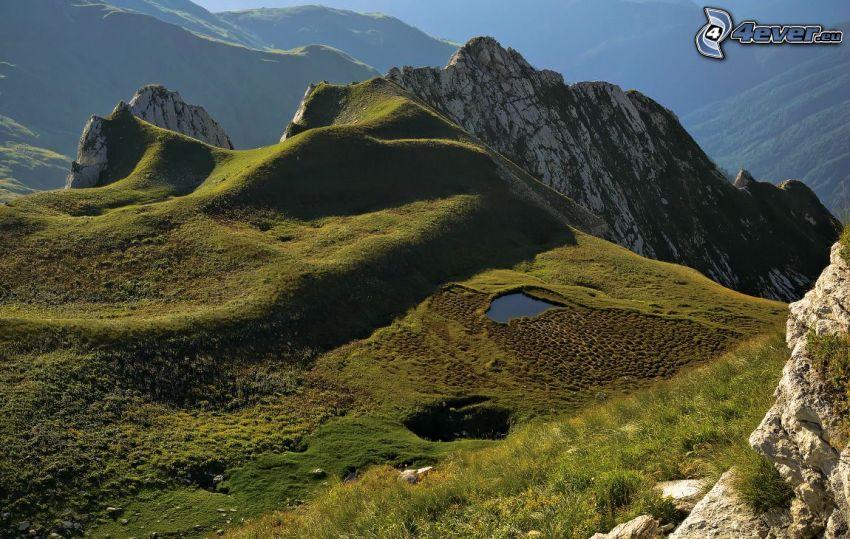 felsige Berge, Moos, Gras