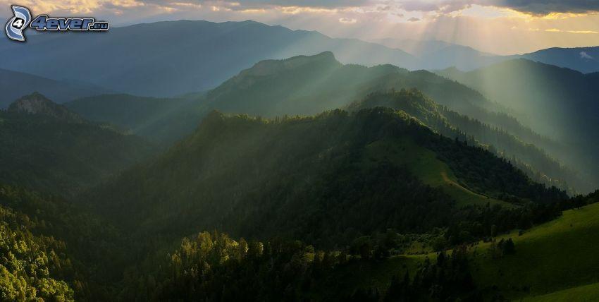 Hügel, Bäume, Sonnenstrahlen hinter der Wolke