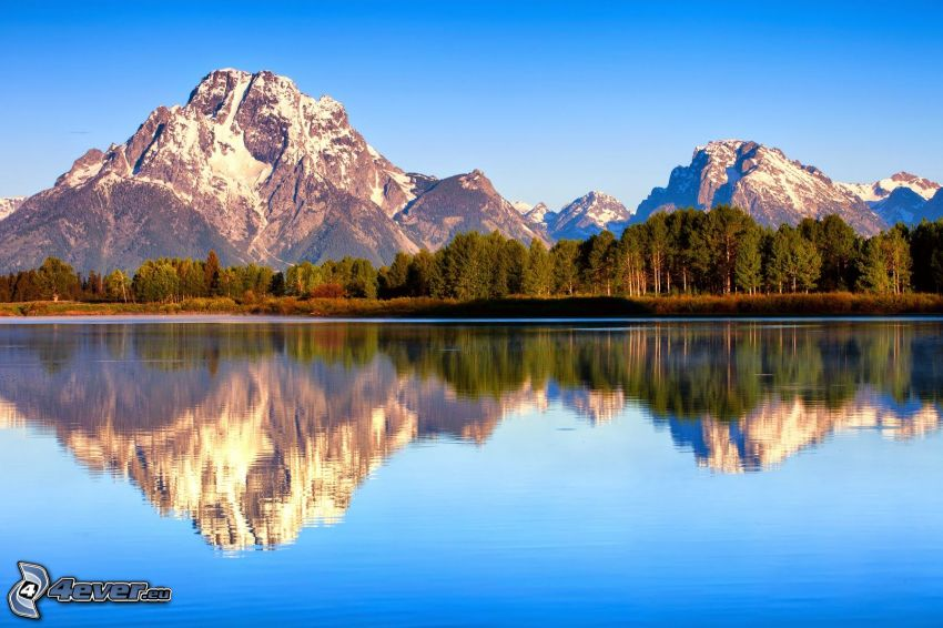 Mount Moran, Wyoming, felsige Berge, See, Spiegelung, Wald