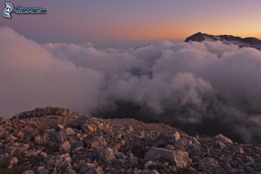 über den Wolken, hohe Berge, Sonnenuntergang, Felsen