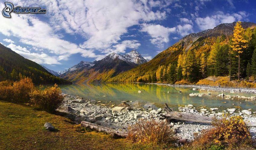 Wildbach, Herbstliche Bäume, schneebedeckte Berge