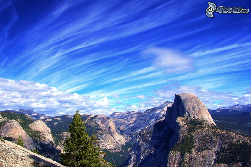 Yosemite-Nationalpark, Half Dome, felsige Berge