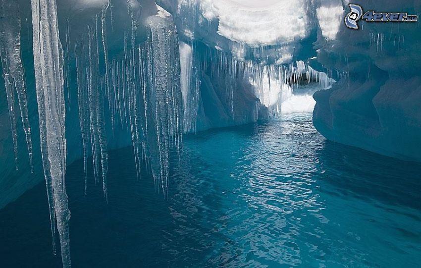 Eishöhle, Eiszapfen, Meer