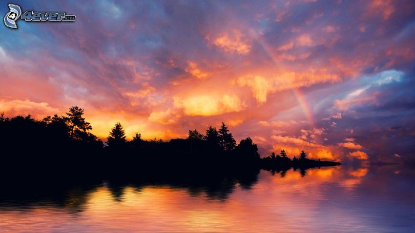 Fluss, Abendhimmel, Bäum Silhouetten
