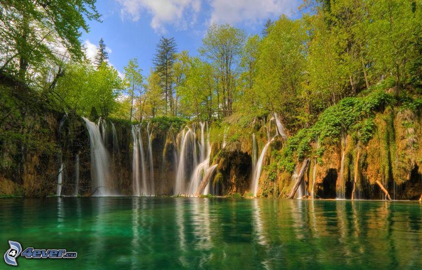 forstlicher Wasserfall, See im Wald, grünes Wasser