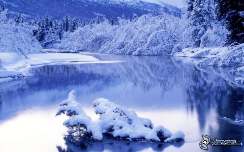 gefrorener Fluss, verschneite Landschaft