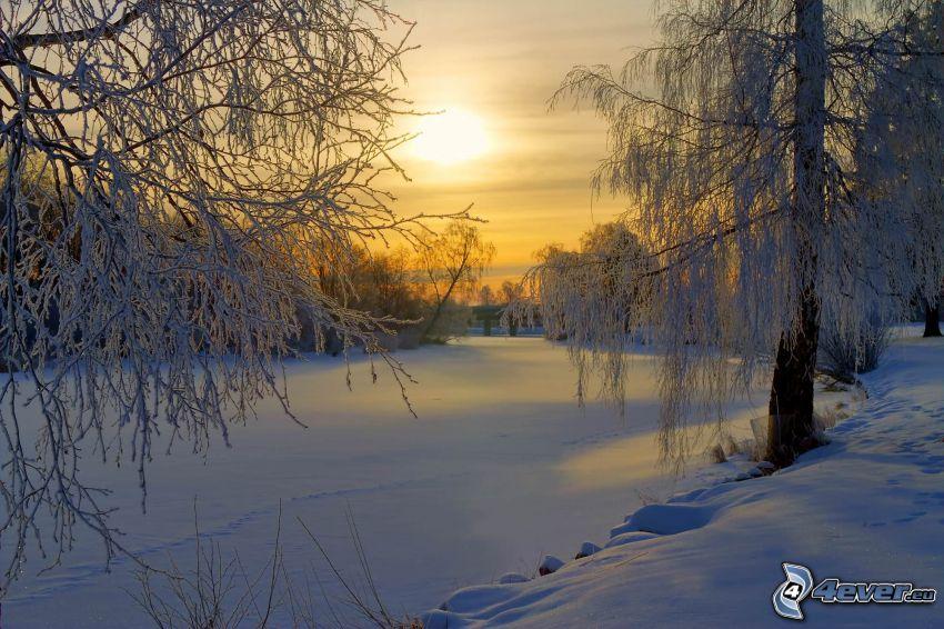 gefrorener Fluss beim Sonnenuntergang, verschneite Bäume