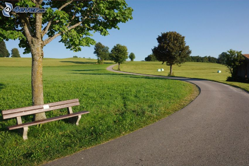 Gehweg, Sitzbank, Wiesen, Bäume