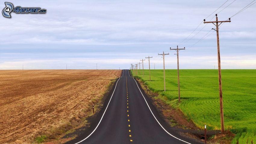 gerade Strasse, Wiese, Feld, elektrische Leitung